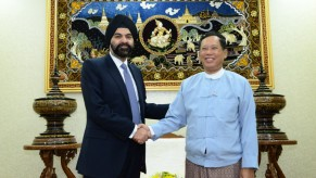 Ajay Banga, President &amp; CEO of MasterCard Worldwide, with Governor U Than Nyein, of the Central Bank of Myanmar